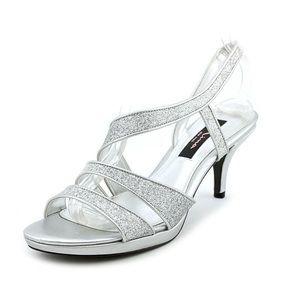 NINA Nolga Silver Glitter Heel Sandals